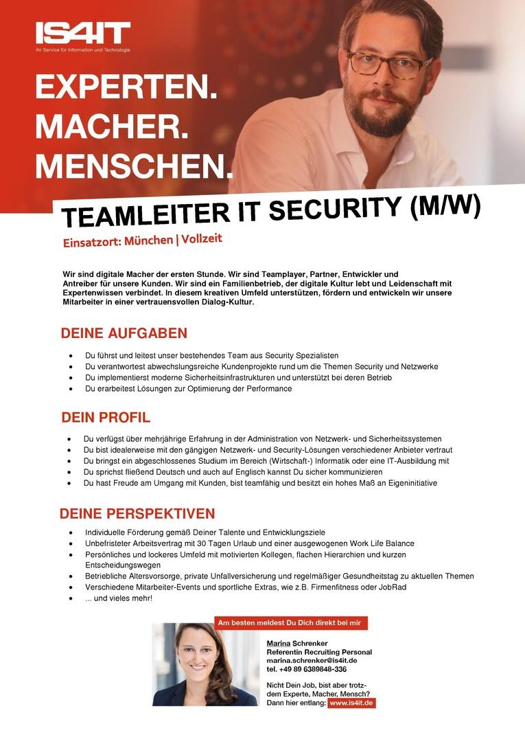 Teamleiter Security (m/w)