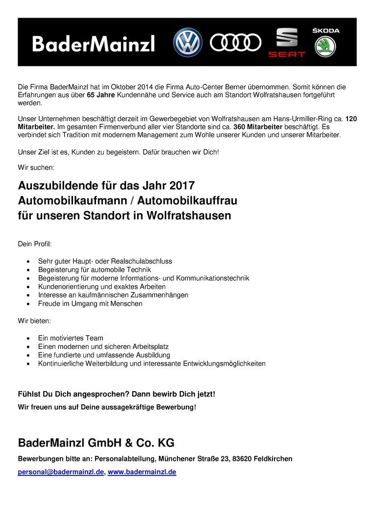 Auszubildende 2017 - Automobilkaufmann / Automobilkauffrau