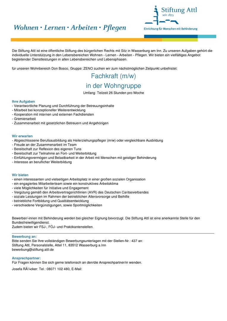 Fachkraft in der Wohngruppe (m/w) in Teilzeit 26,0 Stunden, unbefristet  - Stellen-Nr. 437