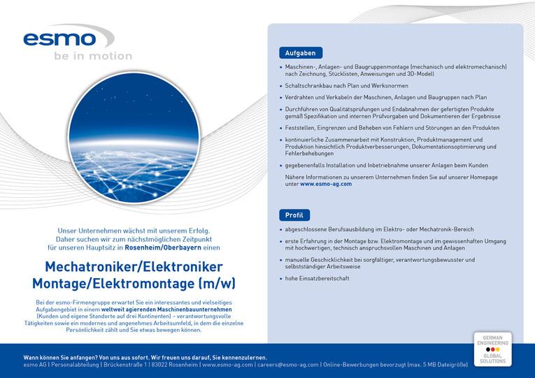 Mechatroniker / Elektroniker - Montage / Elektromontage (m/w)