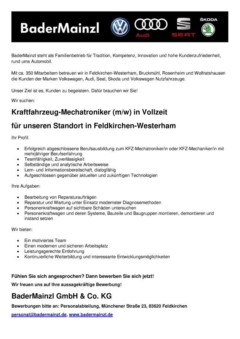Kfz-Mechatroniker / Kfz-Mechatronikerin in Vollzeit