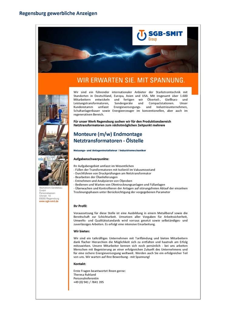 Monteure (m/w) für die Endmontage (Bereich Ölstelle) Netztransformatoren