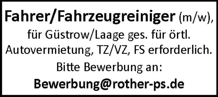 Fahrer / Fahrzeugreiniger (m/w)