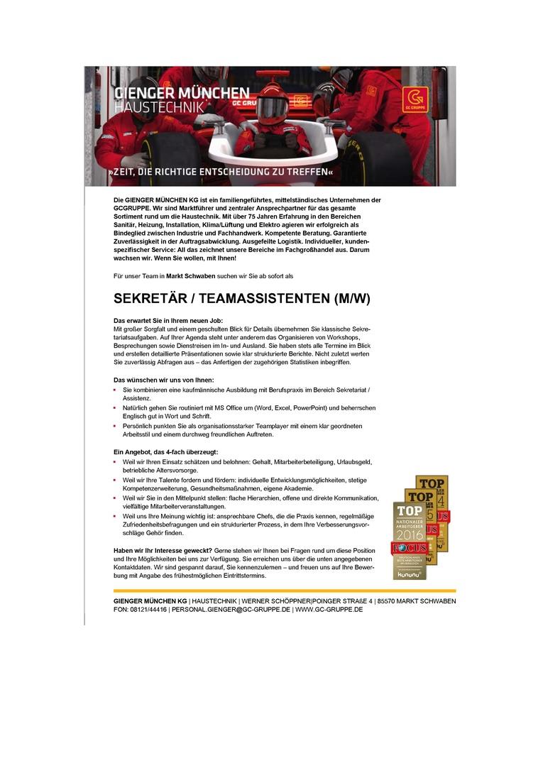 SEKRETÄR / TEAMASSISTENTEN (M/W)