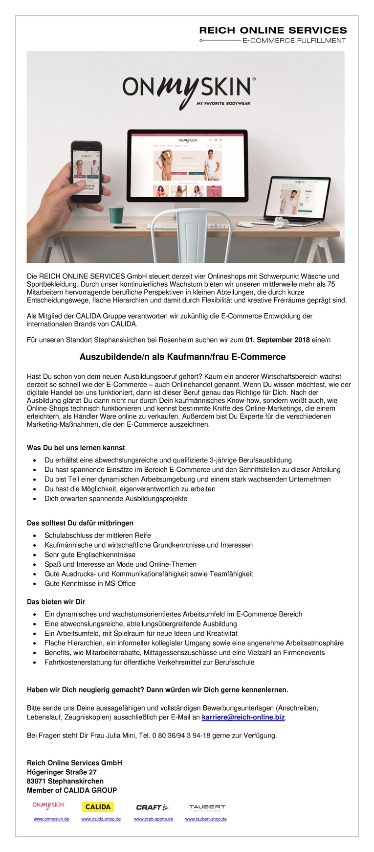 Ausbildungsplatz als Kaufmann/frau E-Commerce 2018
