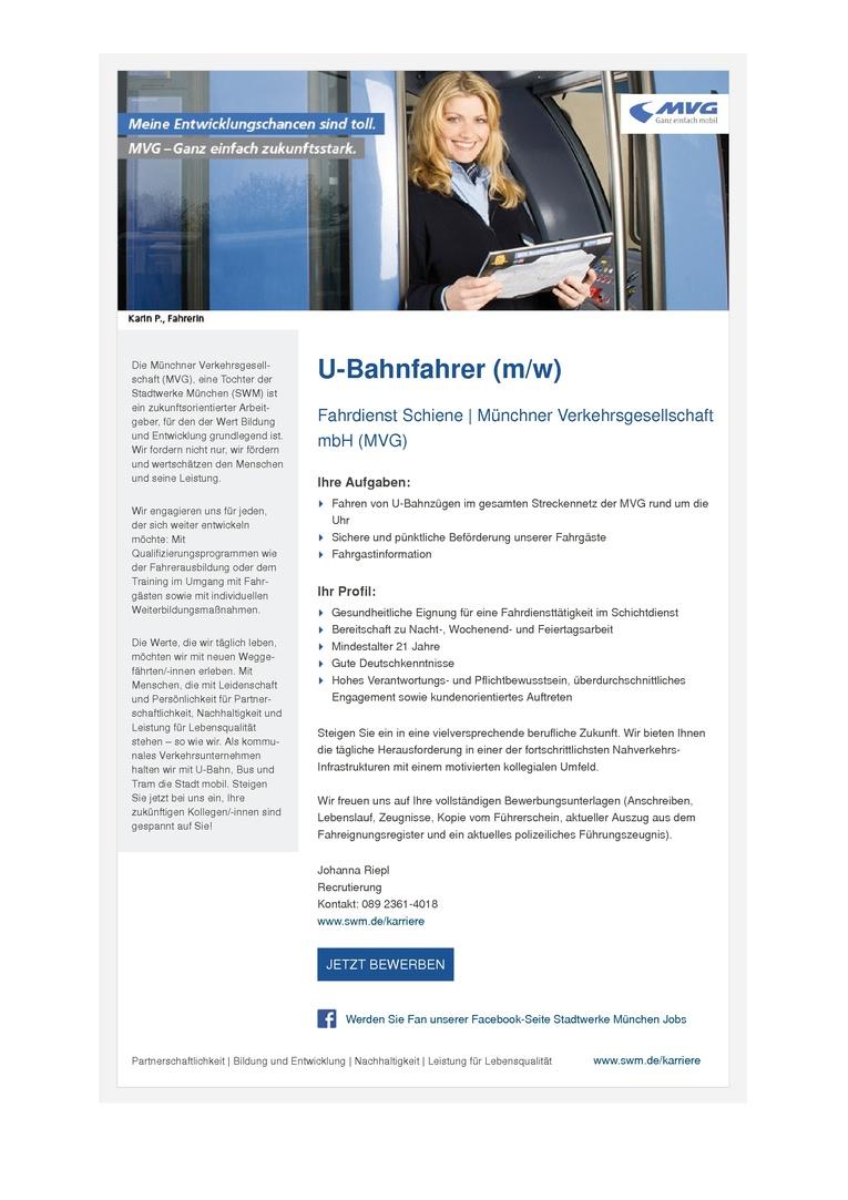 U-Bahnfahrer (m/w)