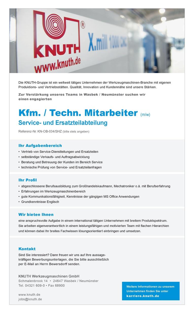 Kfm. / Techn. Mitarbeiter (m/w) für unsere Service- und Ersatzteilabteilung