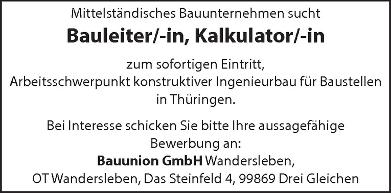 Bauleiter/-in Kalkulator/-in