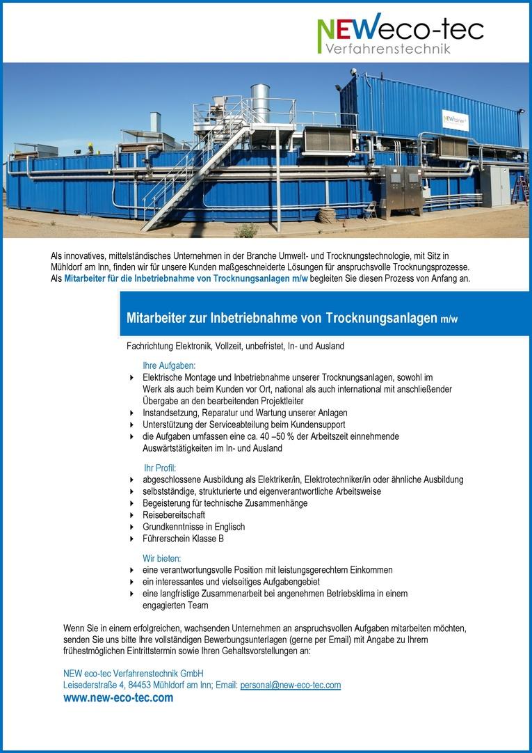 Mitarbeiter zur Inbetriebnahme von Trocknungsanlagen m/w