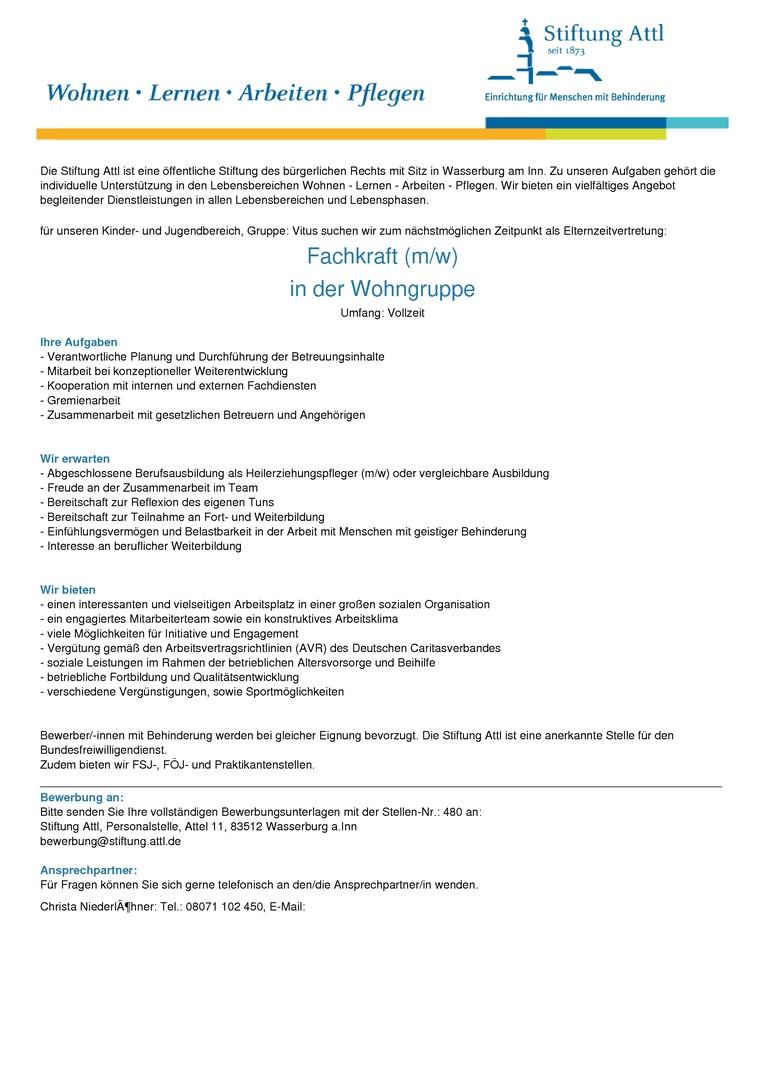 Fachkraft für die Wohngruppe (m/w) in Vollzeit, Elternzeitvertretung - Stellen-Nr. 480