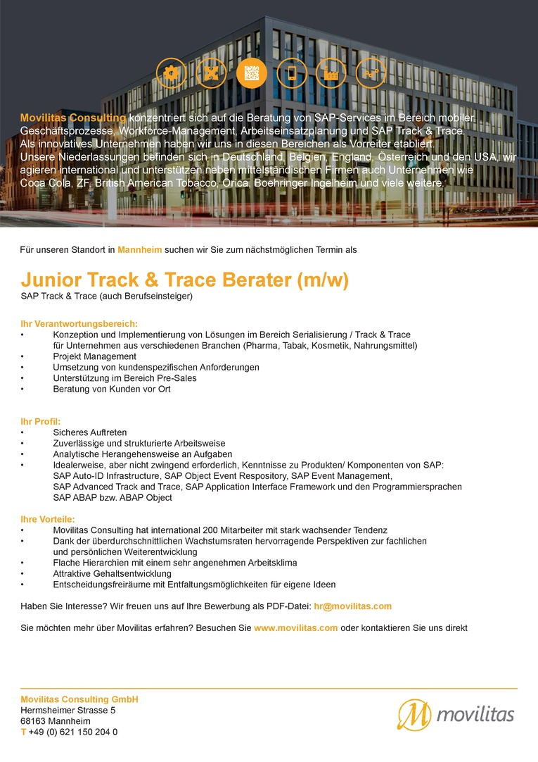 Junior SAP Track and Trace Berater (m/w)