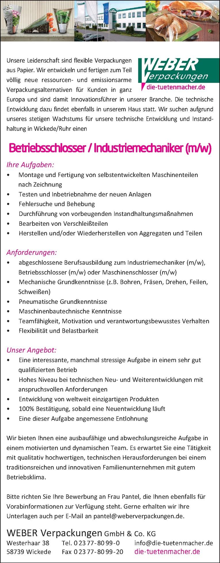 Betriebsschlosser / Industriemechaniker (m/w)