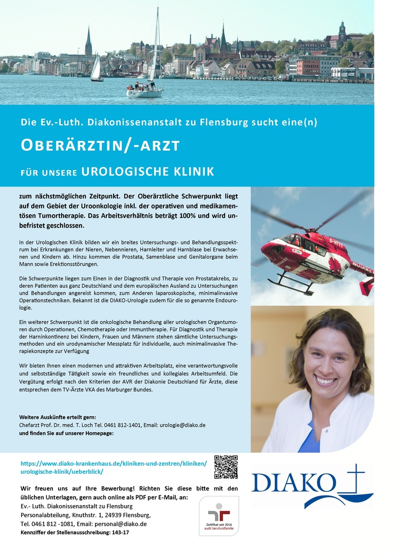 Oberärztin/-arzt für unsere Urologische Klinik