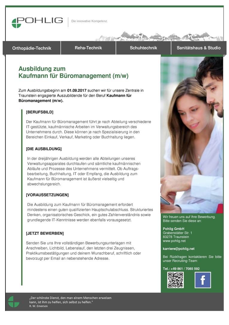 Auszubildende zum Kaufmann für Büromanagement (m/w) Ausbildungsbeginn 01. September 2017