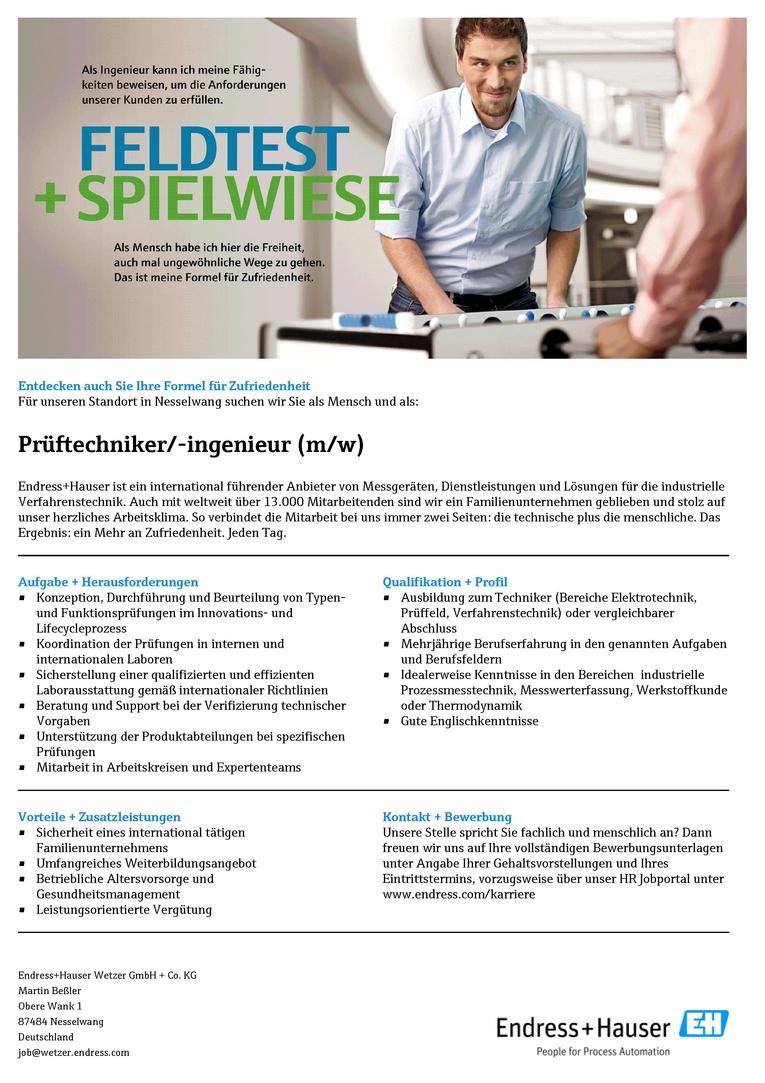Prüftechniker/-ingenieur (m/w)