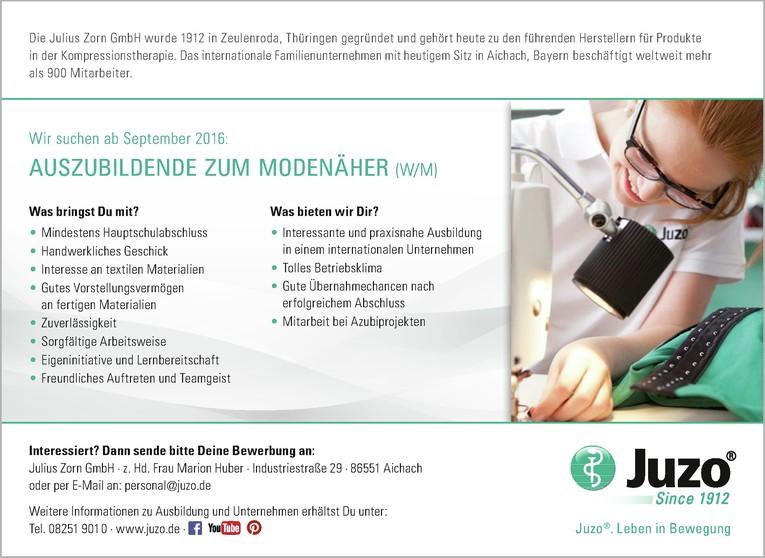Auszubildende zum/r Textil- und Modenäher/in ab September 2017