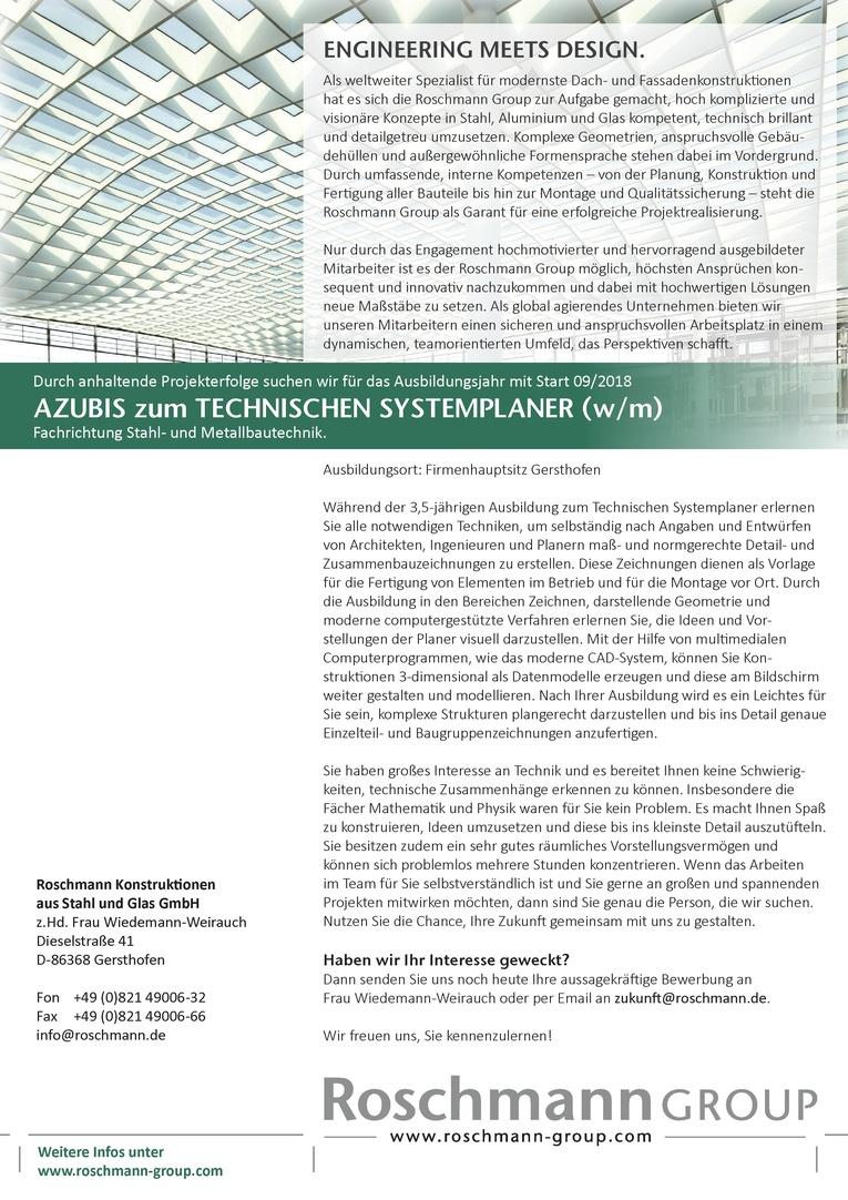 AZUBIS zum TECHNISCHEN SYSTEMPLANER (w/m) in der Fachrichtung Stahl- und Metallbautechnik
