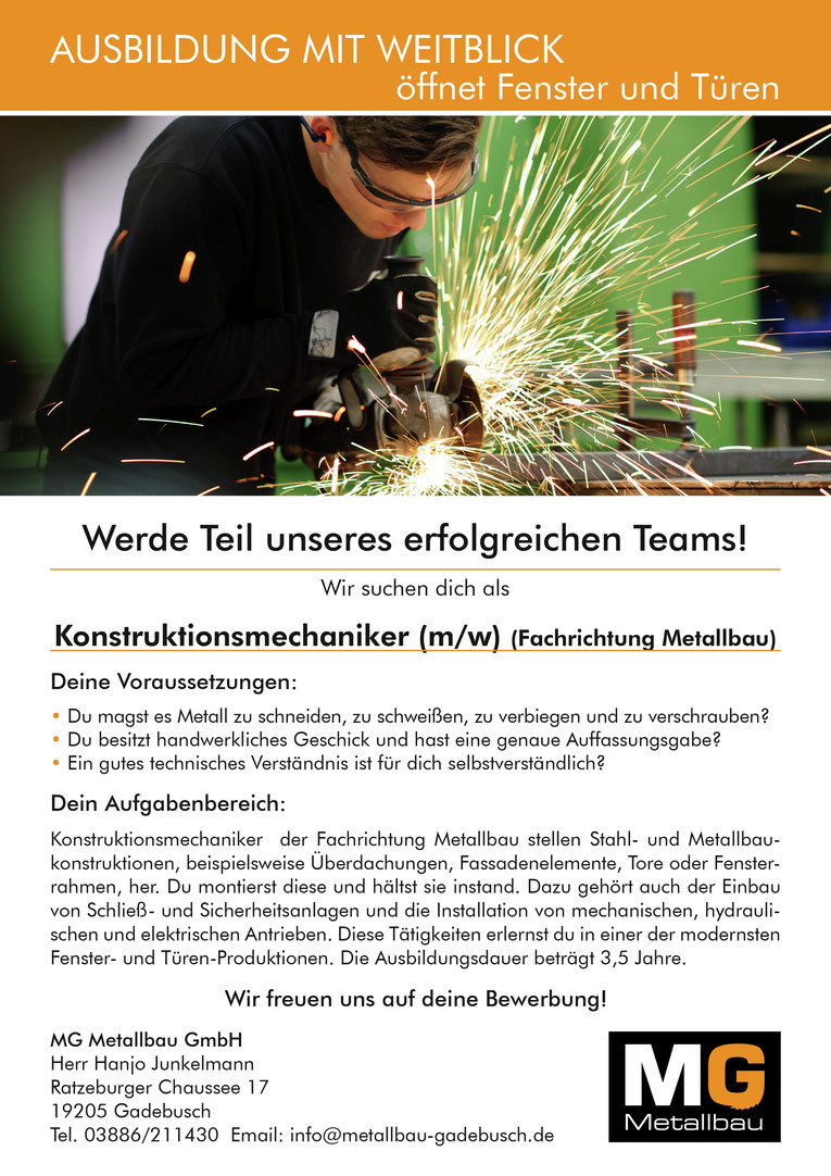Konstruktionsmechaniker (m/w) (Fachrichtung Metallbau)
