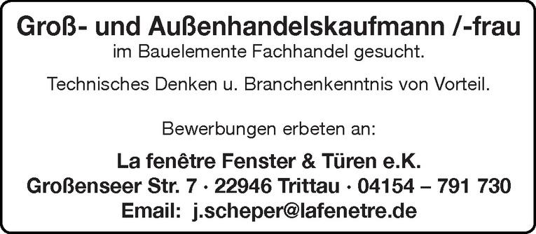 Groß- und Außenhandelskaufmann /-frau