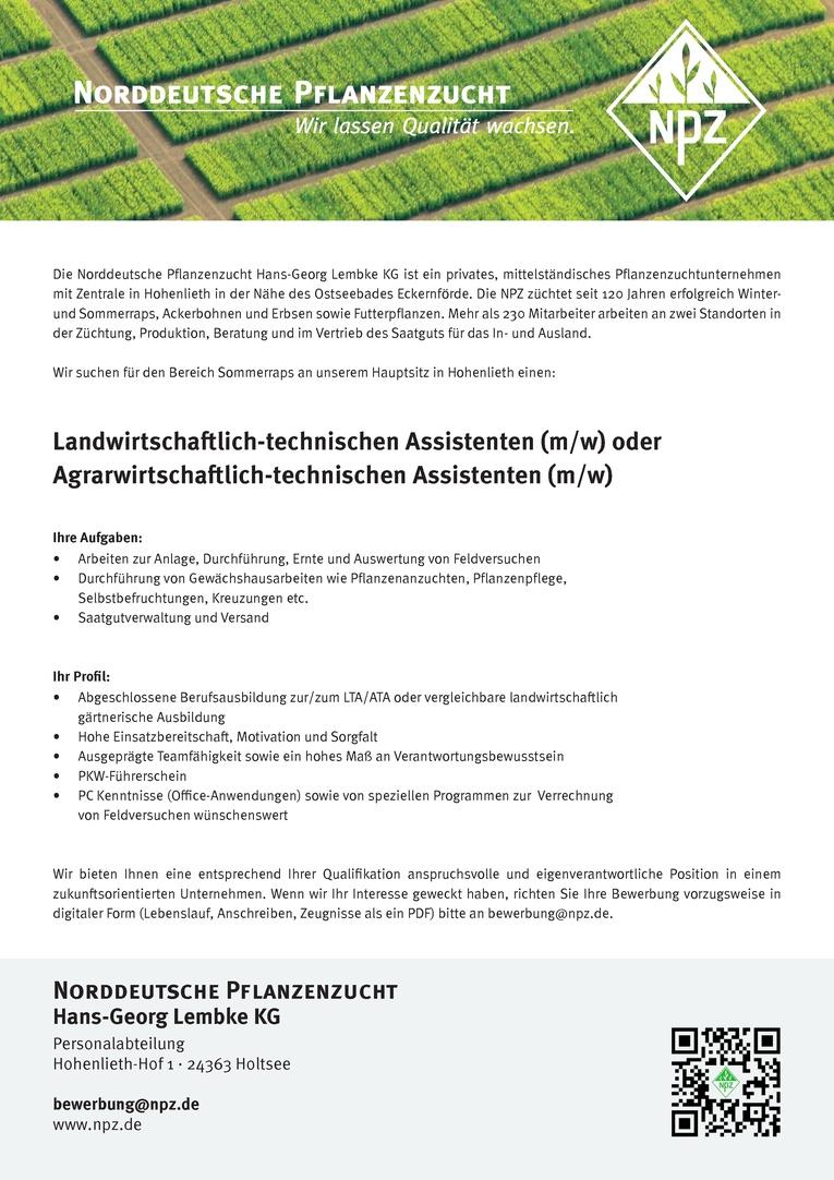 Agrarwirtschaftlich-technischer Assistent / Landwirtschaftlich-technischer Assistent (m/w)
