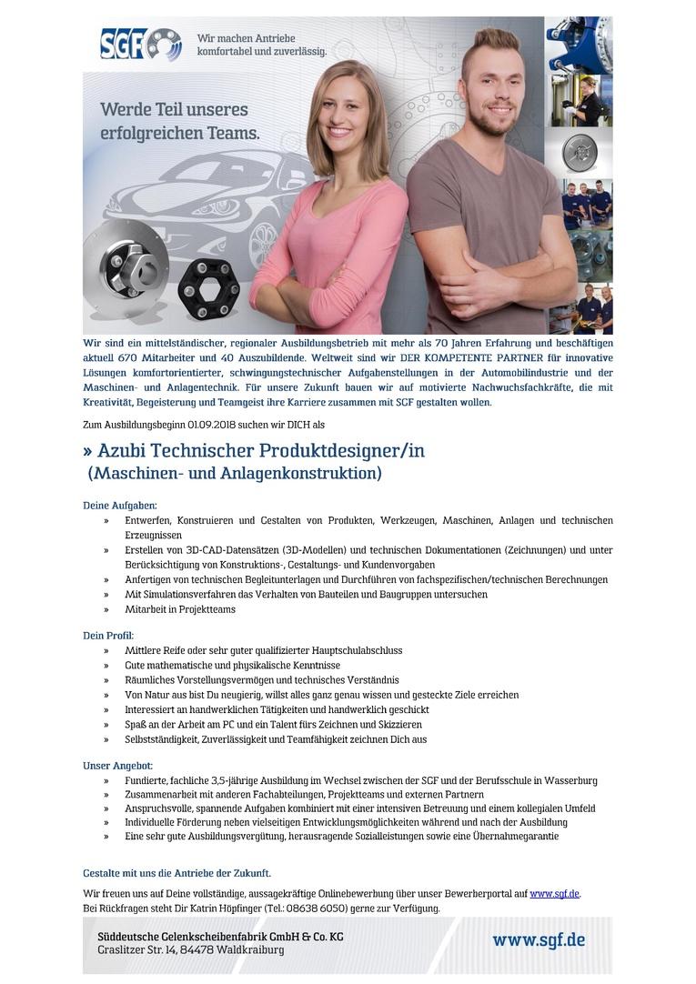 Azubi Technische/r Produktdesigner/in (Maschinen- und Anlagenkonstruktion)