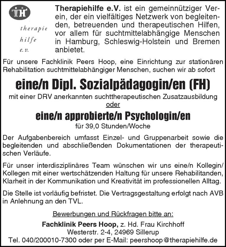 Dipl. Sozialpädagogin / Psychologin (m/w)