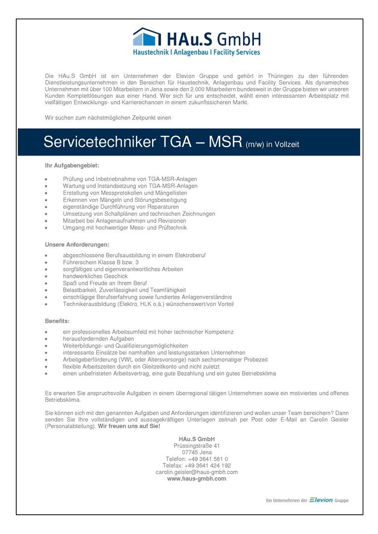 Servicetechniker TGA – MSR (m/w) in Vollzeit