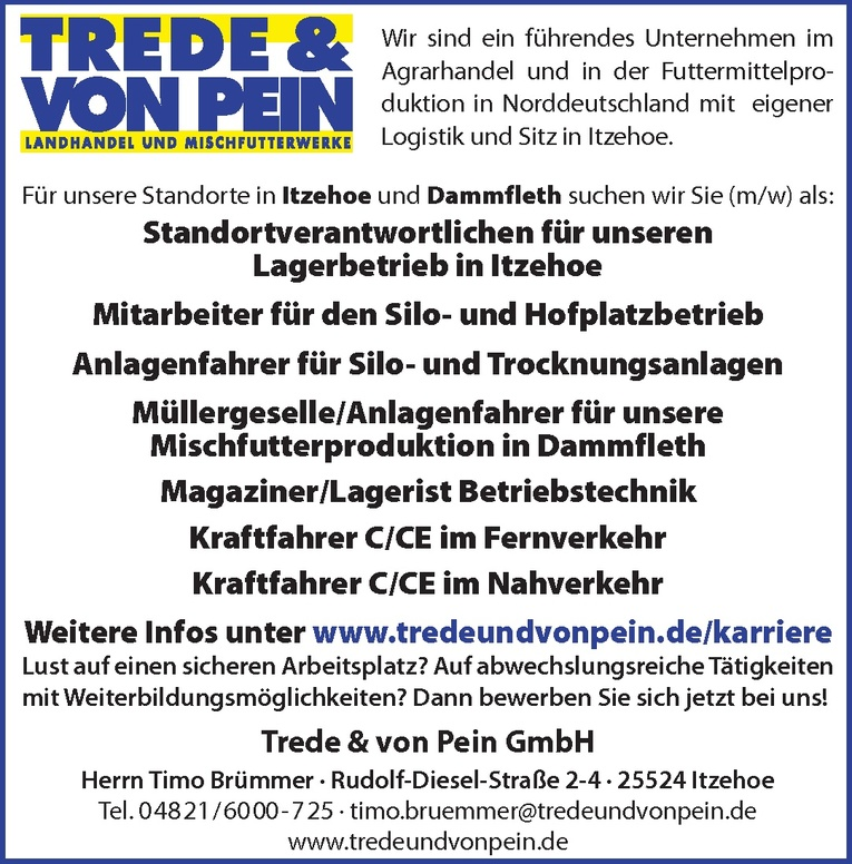 Müllergeselle/Anlagenfahrer für unsere Mischfutterproduktion (m/w)
