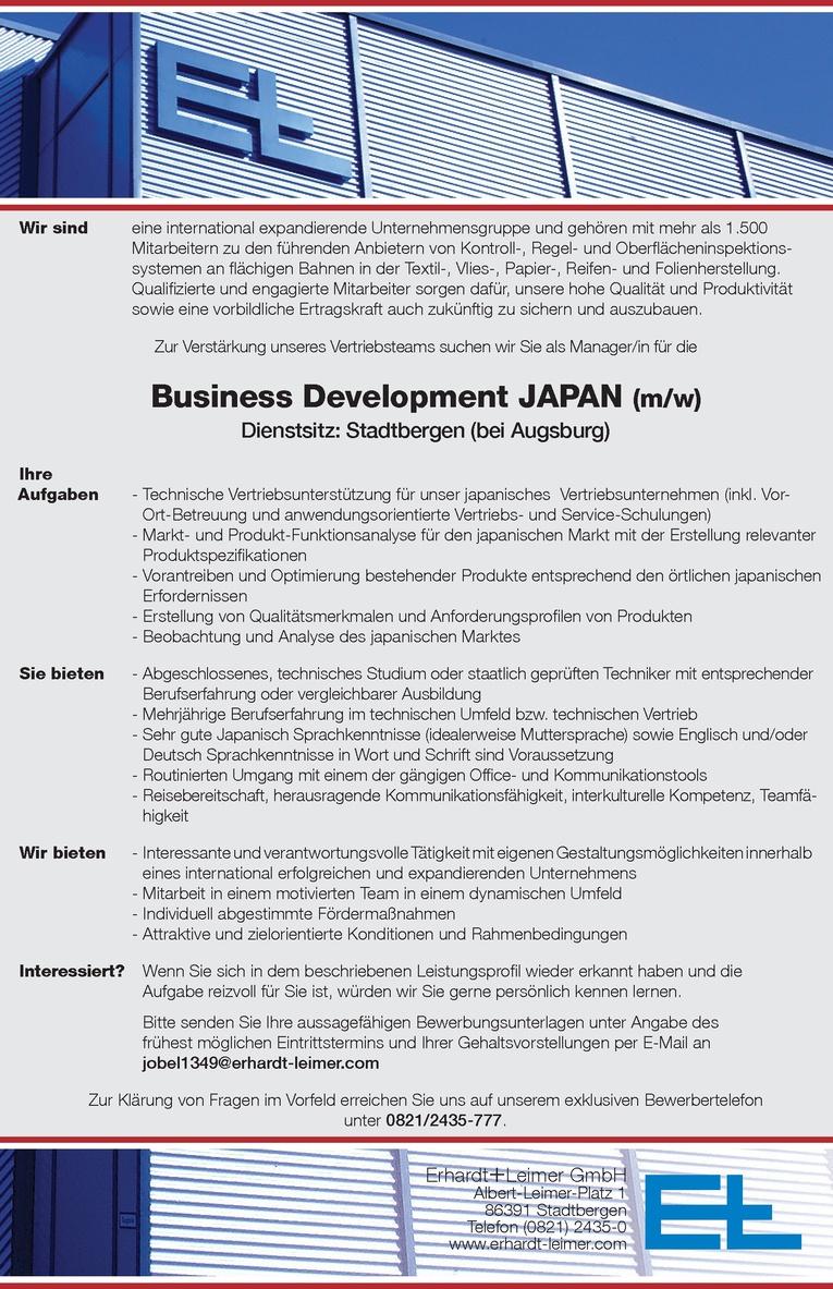 Business Development JAPAN (m/w)