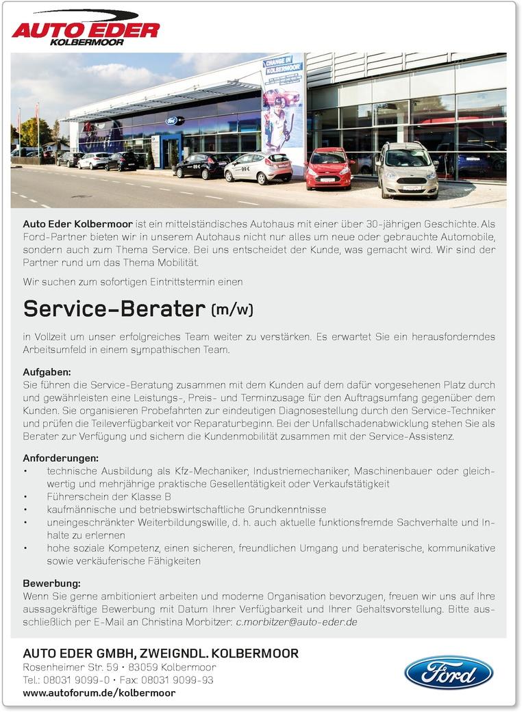 Service-Berater (m/w) für Kraftfahrzeuge (Ford Vertragshändler) gesucht