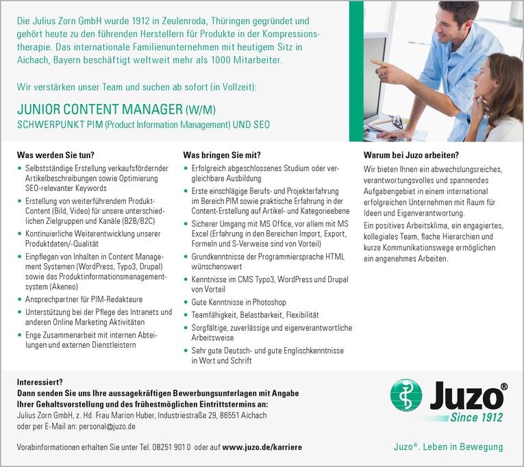 JUNIOR CONTENT MANAGER (W/M)