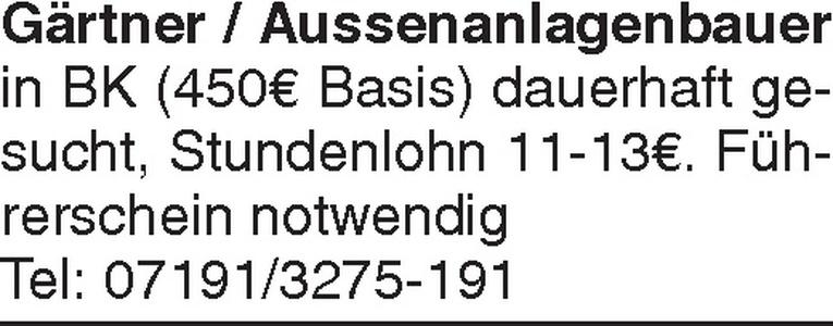 Gärtner / Aussenanlagenbauer (m/w)