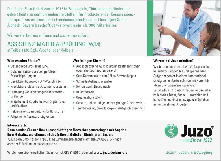 Assistenz Materialprüfung (w/m)