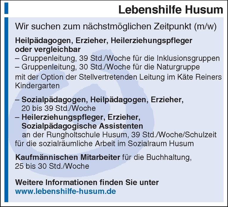 Sozialpädagogen, Heilpädagogen, Erzieher (m/w)