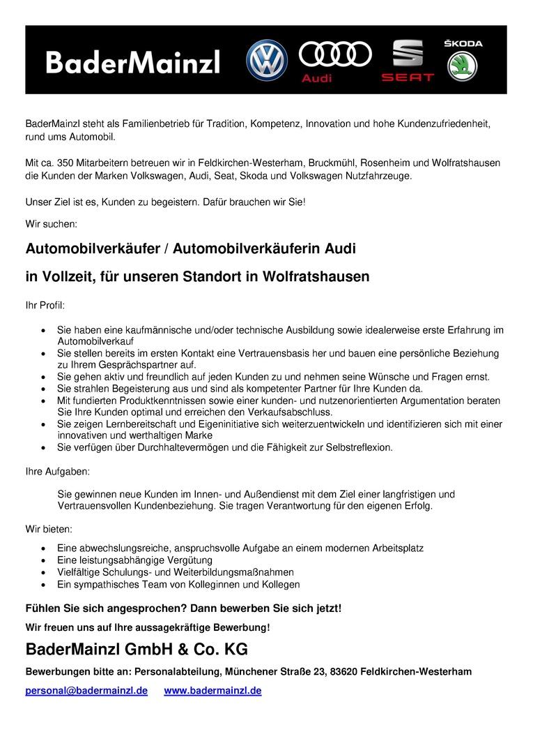 Automobilverkäufer / Automobilverkäuferin Audi