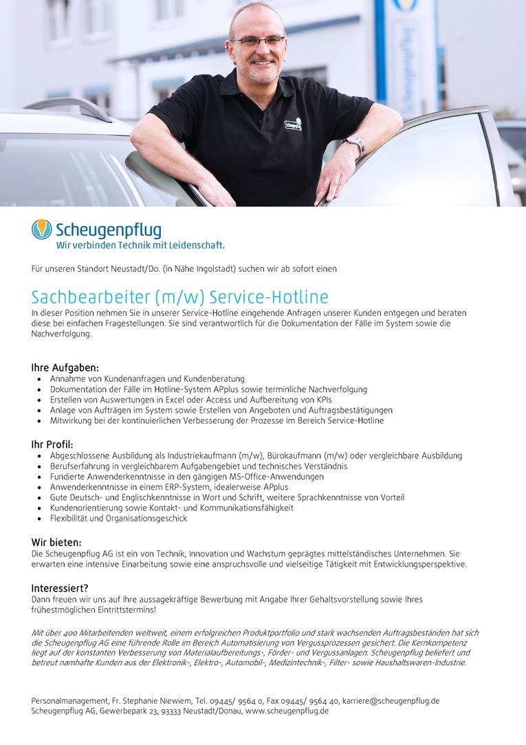 Sachbearbeiter (m/w) Service-Hotline