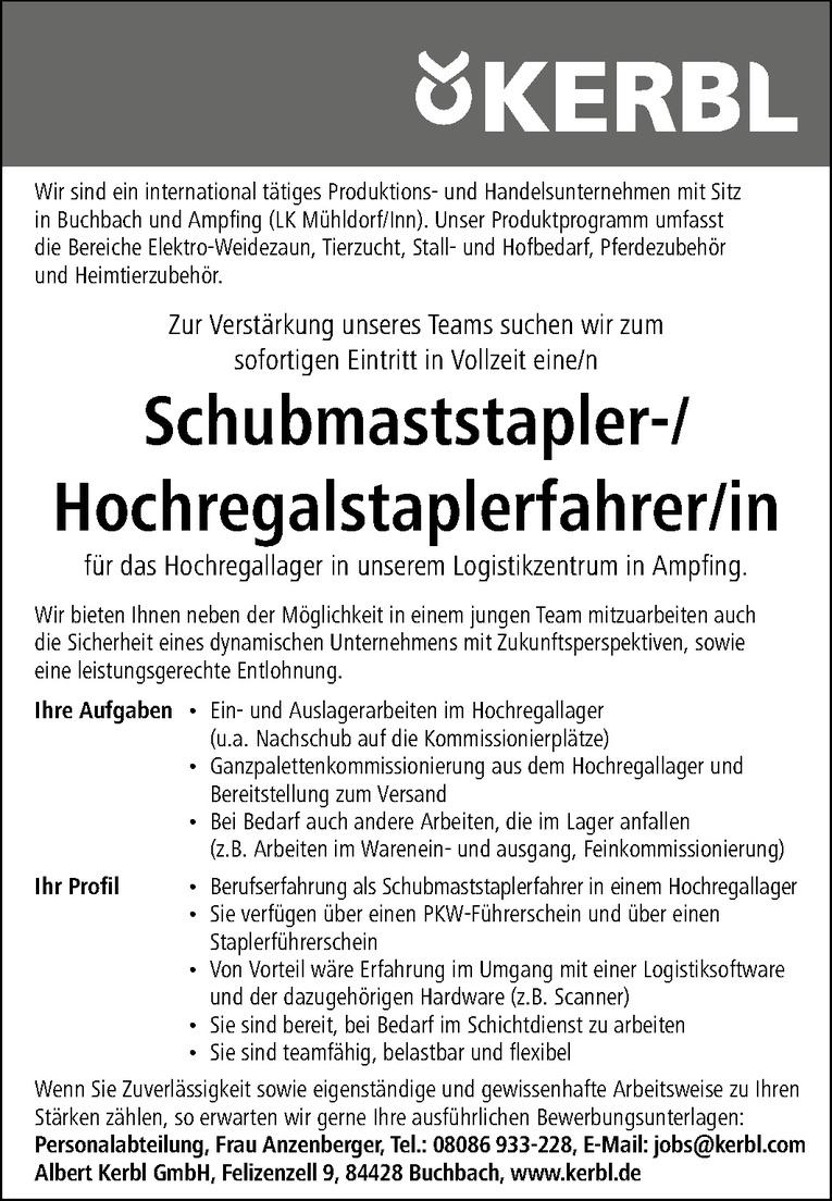 Schubmaststaplerfahrer (m/w) / Hochregalstaplerfahrer (m/w)