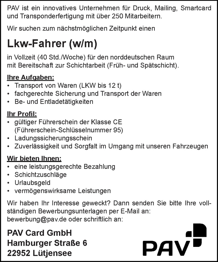 Lkw-Fahrer (w/m)