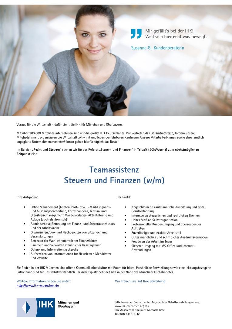 Teamassistenz Steuern und Finanzen (w/m)