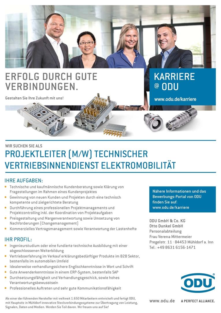 Projektleiter (m/w) technischer Vertriebsinnendienst Elektromobilität