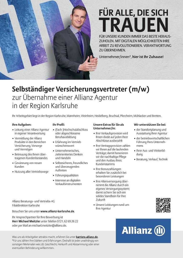 Selbständiger Versicherungsvertreter (m/w) zur Übernahme einer Allianz Agentur