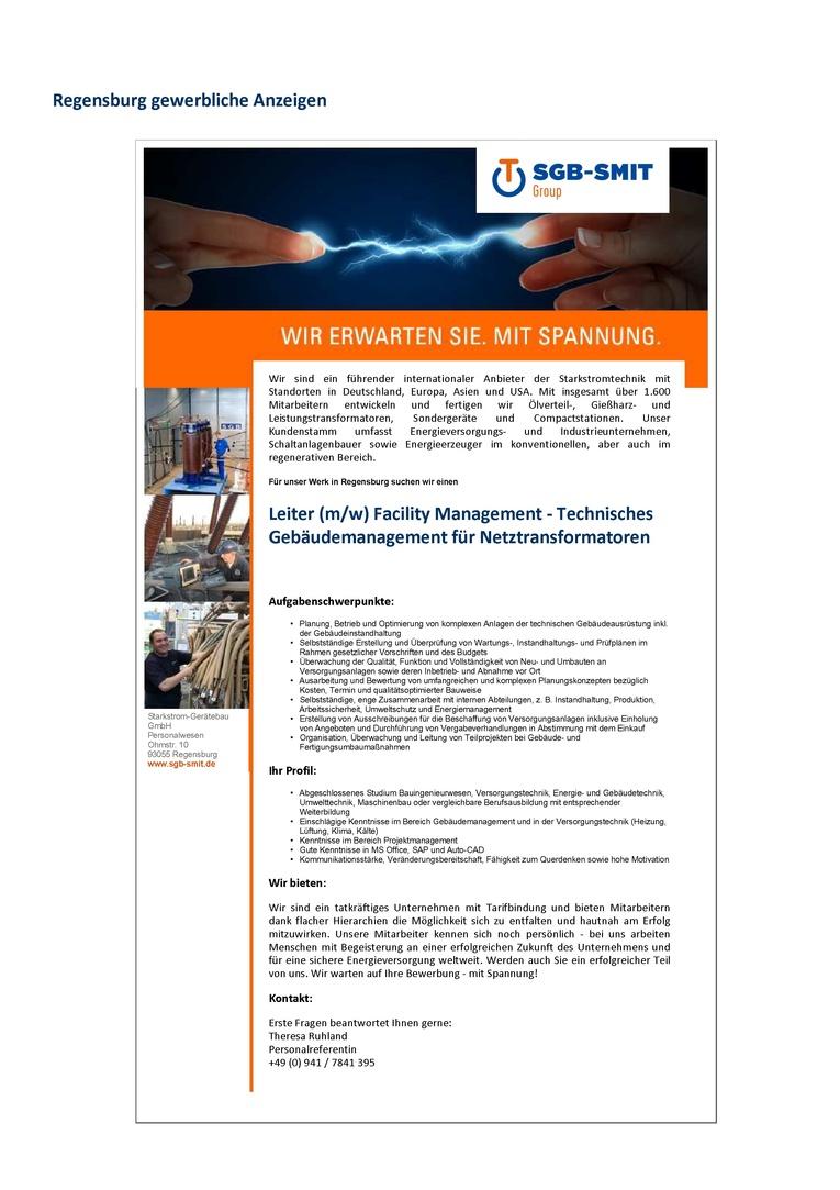 Leiter (m/w) Facility Management-Technisches Gebäudemanagement für den Geschäftsbereich Netztransformatoren
