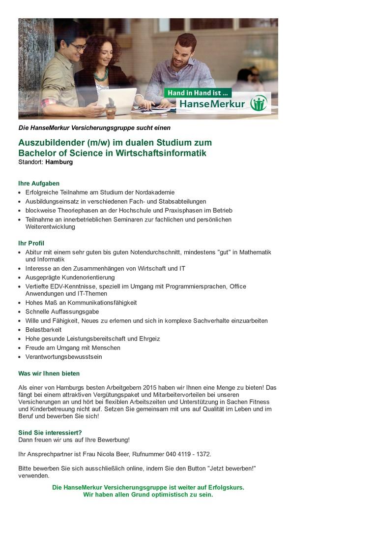 Auszubildender (m/w) im dualen Studium zum Bachelor of Science in Wirtschaftsinformatik