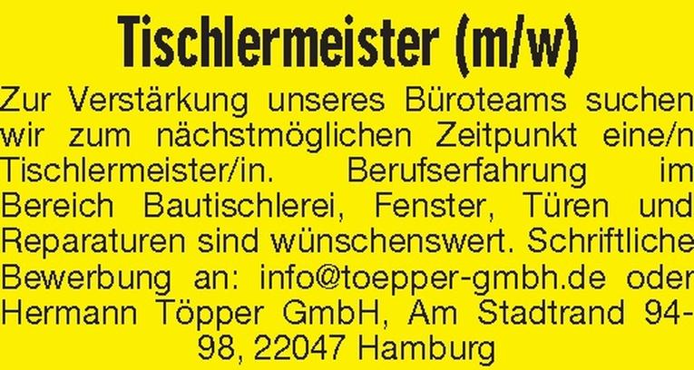 Tischlermeister (m/w)