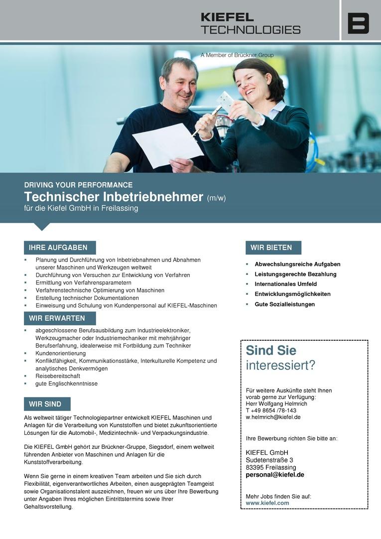 Technischer Inbetriebnehmer (m/w)