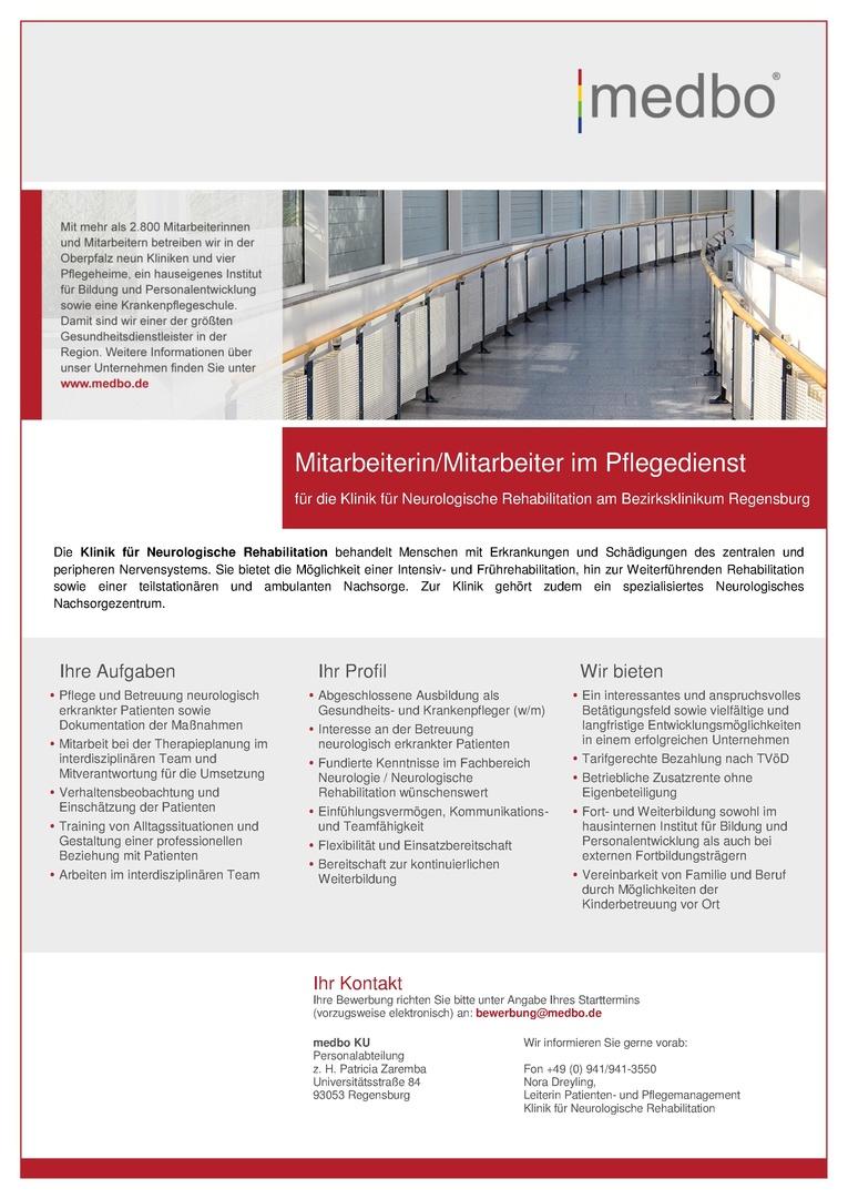 Mitarbeiterin/Mitarbeiter im Pflegedienst für die Klinik für Neurologische Rehabilitation am Bezirksklinikum Regensburg