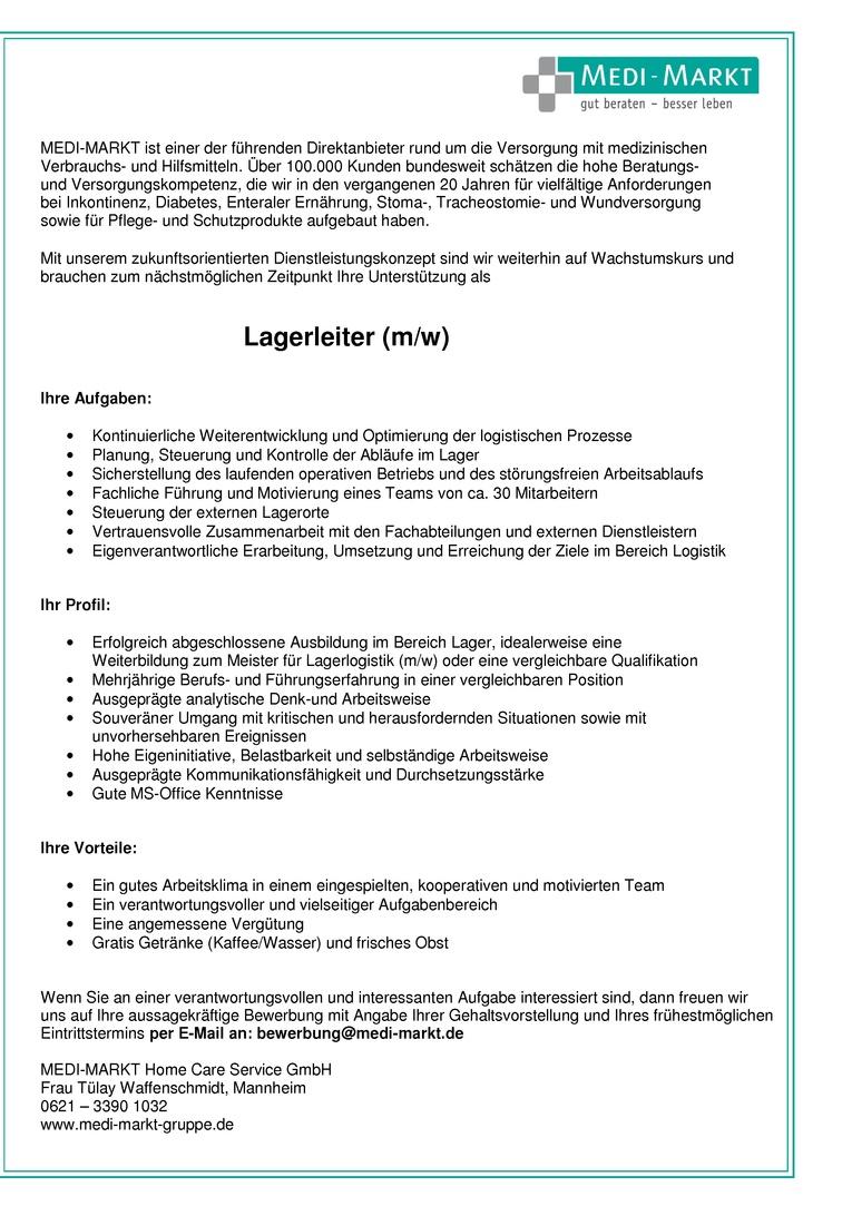 Lagerleiter (m/w)