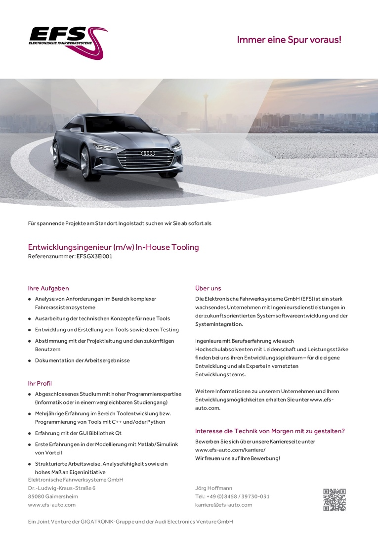 ENTWICKLUNGSINGENIEUR (M/W) IN-HOUSE TOOLING