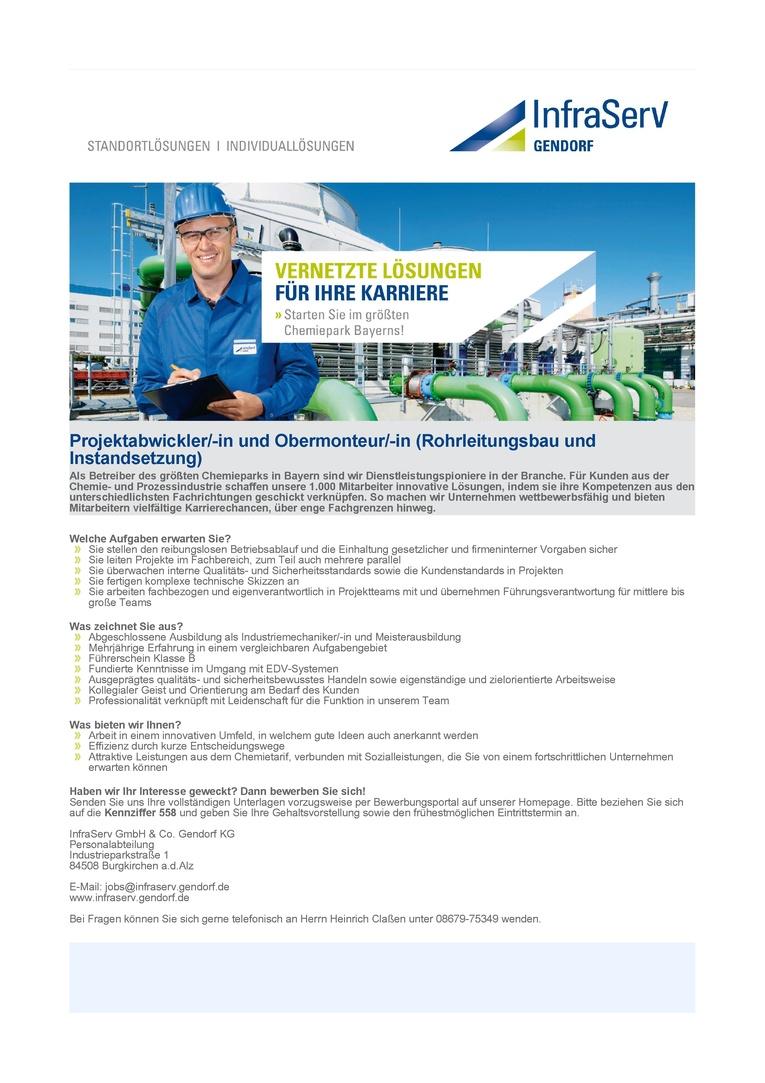 Projektabwickler/-in und Obermonteur/-in (Rohrleitungsbau und Instandsetzung)