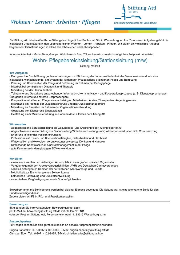 Wohn- Pflegebereichsleitung/Stationsleitung (m/w) in Vollzeit 39,0 Wochenstunden, unbefristet, St-Nr. 181